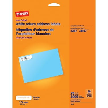 Staples® White Inkjet/Laser Return Address Labels, 1/2in. x 1 3/4in., 2,000/Box