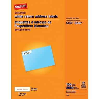 Staples® White Inkjet/Laser Return Address Labels, 1/2in. x 1-3/4in., 8,000/Box