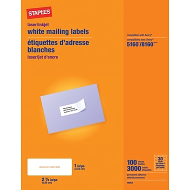 Staples® White Inkjet/Laser Address Labels, 1in. X 2-5/8in., 3,000/Box