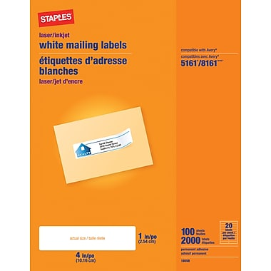Staples® White Inkjet/Laser Address Labels, 1in. X 4in., 2,000/Box
