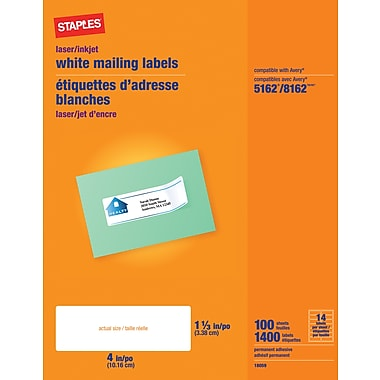 Staples® White Inkjet/Laser Address Labels, 1-1/3in. X 4in., 1,400/Box
