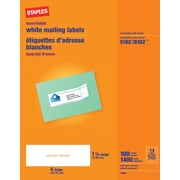 Staples® White Inkjet/Laser Address Labels, 1-1/3 X 4, 1,400/Box