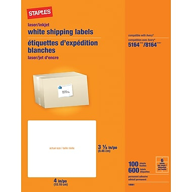 Staples White Inkjet/Laser Shipping Labels, 3 1/3in. x 4in., 600/Box