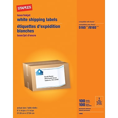 Staples® White Inkjet/Laser Full Sheet Shipping Labels, 8-1/2in. X 11, 100/Box