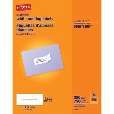 Staples® White Inkjet/Laser Address Labels  1in. X 2-5/8in., 7,500/Box