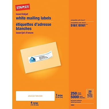 Staples® White Inkjet/Laser Address Labels  1in. X 4in., 5,000/Box