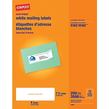 Staples® White Inkjet/Laser Address Labels  1-1/3in. X 4in., 3,500/Box