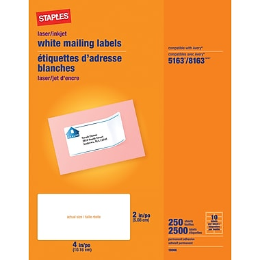 Staples® White Inkjet/Laser Shipping Labels 2in. x 4in., 2,500/Box