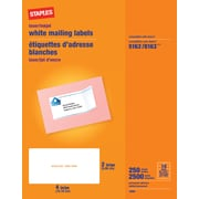 "Staples® White Inkjet/Laser Shipping Labels 2"" x 4"", 2,500/Box"