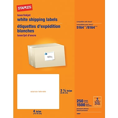 Staples® White Inkjet/Laser Shipping Labels  3-1/3in. x 4in., 1,500/Box