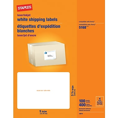 Staples® White Inkjet/Laser Shipping Labels, 3 1/2in. x 5in., 400/Box