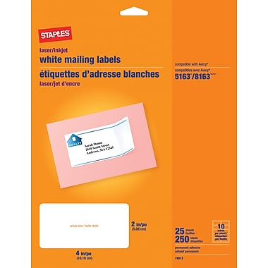 Staples® White Address Labels for Inkjet/Laser Printers, 4