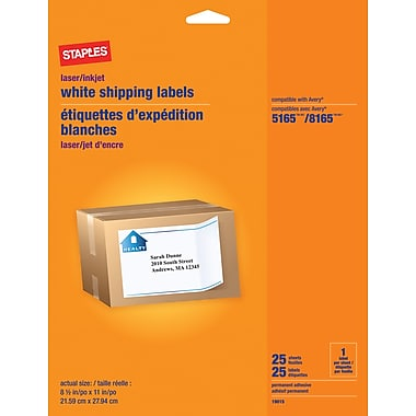 Staples® White Shipping Labels for Inkjet/Laser Printers, 8-1/2