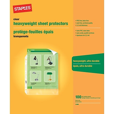 Staples® Clear Heavyweight Sheet Protectors, 100-Pack