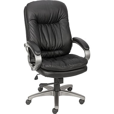 Staples® Montbrook™ Top Grain Leather Managers Mid-Back Chair, Black