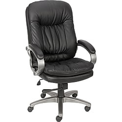 Staples Montbrook Top Grain Leather Mid-Back Managers Chair - Black