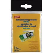 Staples ID Tag Size Thermal Laminating Pouches, 5 mil, 25 pack