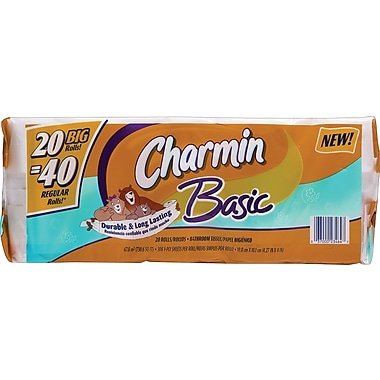 Charmin® Basic Bath Tissue Rolls, 1-Ply, 20 Rolls/Case