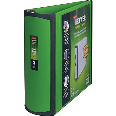 3in. Staples® Better® View Binder with D-Rings, Green