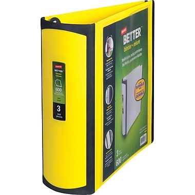 3in. Staples® Better® View Binder with D-Rings, Yellow