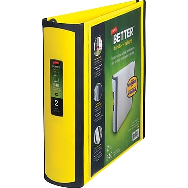 2in. Staples® Better® View Binder with D-Rings, Yellow