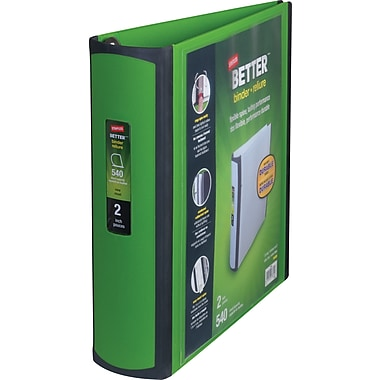2in. Staples® Better® View Binder with D-Rings, Green