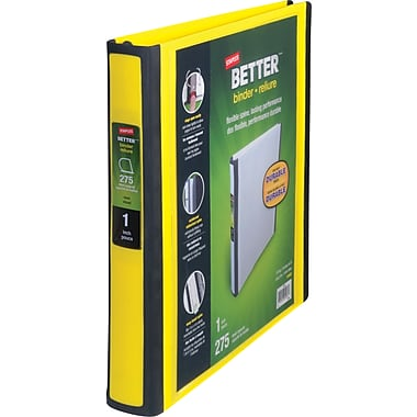 1in. Staples® Better® View Binder with D-Rings, Yellow