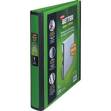 1in. Staples® Better® View Binder with D-Rings, Green
