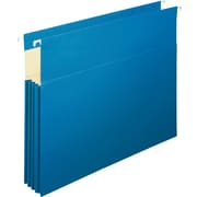 "Staples® 3-1/2"" Hanging File Pockets, Letter Size, Blue, 4/Box (781609)"