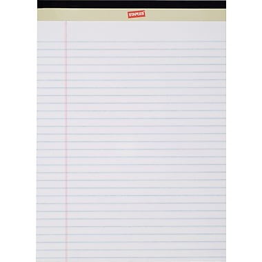 Staples Perforated White Notepad, 8-1/2in. x 11-3/4in.