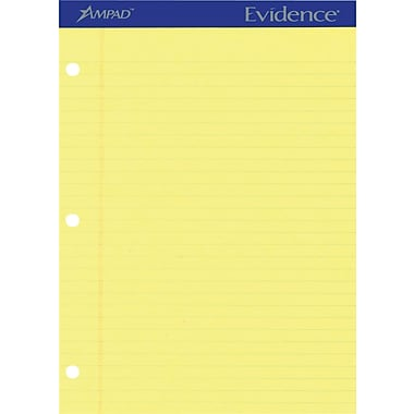 Ampad Evidence® 3-Hole Punched Writing Pads, 8 1/2
