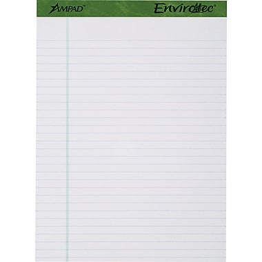 Ampad® Envirotec™, 100% Recycled, 8-1/2in. x 11-3/4in., White, Writing Pads, Wide Ruled, 4/Pack