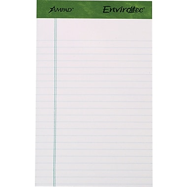 Ampad® Envirotec™, 100% Recycled, 5in. x 8in., White, Perforated Writing Pads, Medium Ruled, 6/Pack