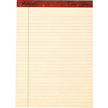 Ampad® Gold Fibre, 8-1/2in. x 11-3/4in., Retro Notepads, Wide Ruled, 12/Pack