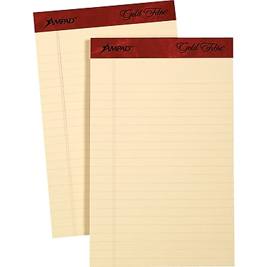 Ampad® Gold Fibre, 5in. x 8in., Retro Writing Pads, Medium Ruled, 12/Pack