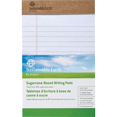Sustainable Earth by Staples™ - Tablettes à écrire à base de bagasse, 8 1/2 x 11 po, blanc, 50 feuilles, paq./2