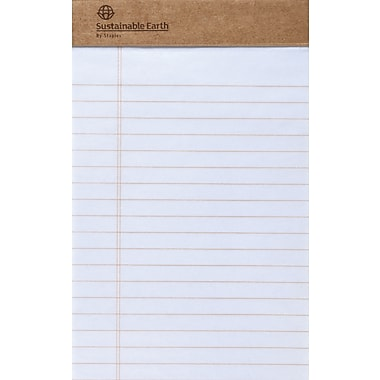 Sustainable Earth By Staples® 5in. x 8in., White, Perforated Notepads, Wide Ruled, 12/Pack