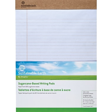 Staples Sustainable Earth Wide Ruled Perforated Notepads, White, 8-1/2