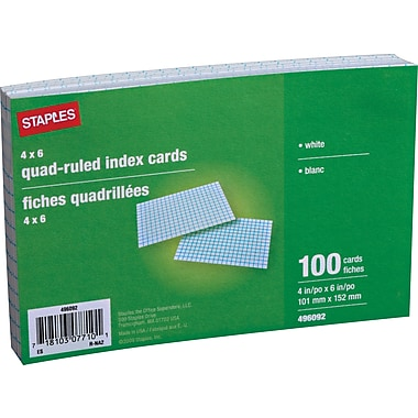 Staples® 4in. X 6in. White Graph-Ruled Index Cards