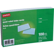 Staples® 4 X 6 White Graph-Ruled Index Cards