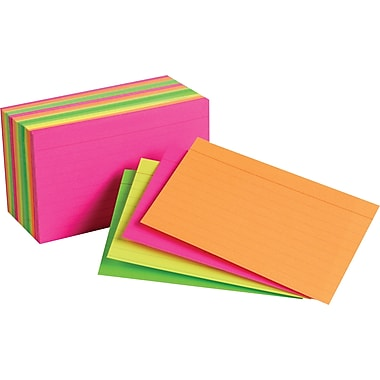 Staples® 3in. x 5in. Line Ruled Neon Assorted Color Index Cards, 300/Pack