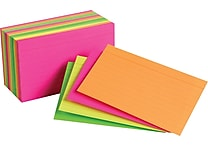 Staples® 3' x 5' Line Ruled Neon Assorted Color Index Cards, 300/Pack