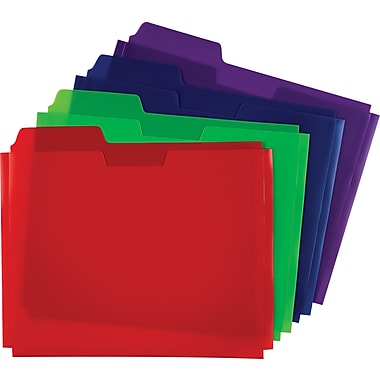 Globe-Weis® Poly File Folder Pockets, Letter, Assorted, 5/Pack