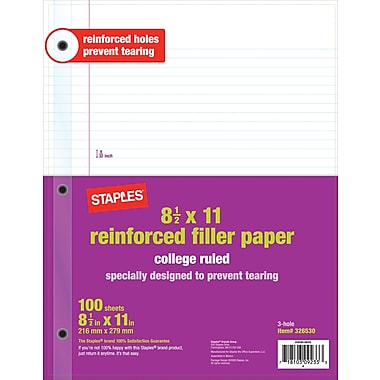 Staples® Reinforced Filler Paper, College Ruled, 8-1/2in. x 11in.