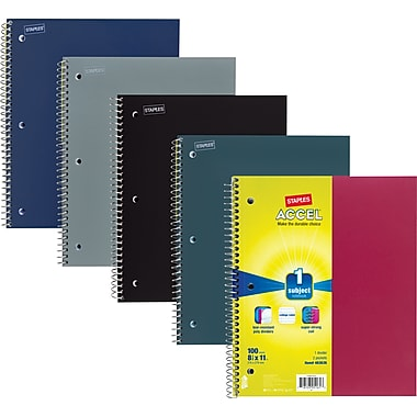 Staples Accel Durable Poly Cover 3 Subject Notebook, Assorted Colors, 8-1/2