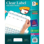 Avery® Index Maker Clear Label Tab Dividers, 5-Tab, White, 25 Sets/Pack