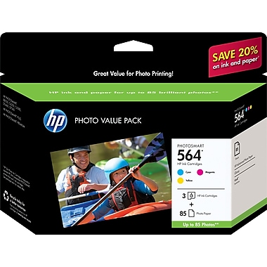 HP 564 C/M/Y Color Ink Cartridges w/ Photo Value Kit (CG925AN), Combo 3/Pack