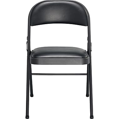 Sudden Comfort Black Vinyl Padded Folding Chairs. 4/Pack