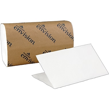 Envision® Recycled Single Fold Paper Towels, White, 1-Ply, 4,000/Case