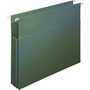 Staples® Hanging File Pockets, Letter, Standard Green, 4/Box